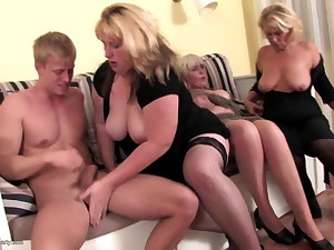 Grannies coupled with moms swell up coupled with fuck young not their son