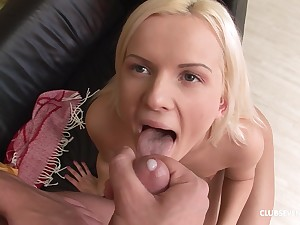 Blonde babe Sophie Bice gets arse fucked and swallows cum