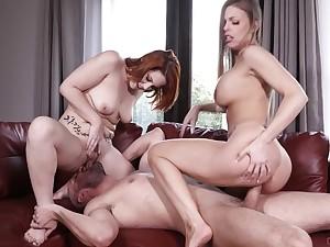Sluts ride his fat cock and his eager tongue