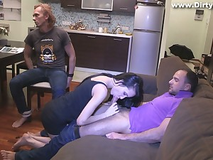 Slutty old hat modern Rosa Mentoni is fucked before b before tied up cuckold old hat modern