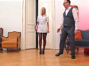 Blonde nurse on touching nylons Cecilia Scott blows and rides an doyenne sponger