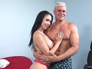 Brunette hottie Jackie Wood takes cumshots on her captivating fake boobs