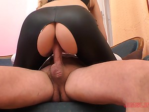 Linda Leclair gets her leather pants ripped and doggy fucked