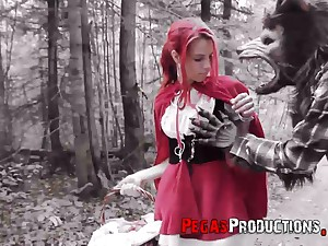Pink haired chick less red riding hood machine Brind Love is fucked less the forest
