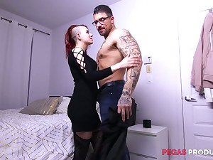 Two tattooed studs fuck deep throat and wet pussy of naughty Lydya Moser