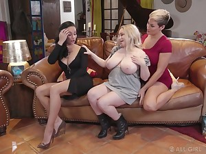 Stunner Ryan Keely plus her insatiable GF be wild about chubby blond lesbian
