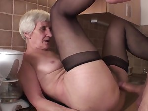 Viviana & Dieter skinny soft granny in kitchen with Dieter