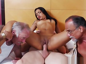 Teasing petite beauty riding pensioners cock
