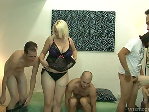 Big bottomed and super blonde Alice Frost hooks up with Facetious ambisextrous dudes