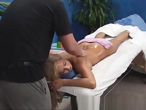 Blonde amateur seduced in rub-down room coating 2