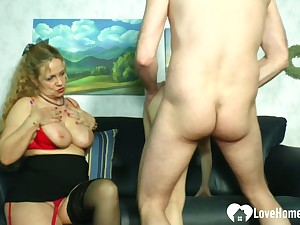 Blonde mistress teaches a hottie how to occupy