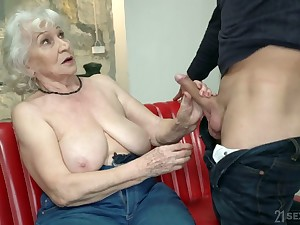 Chubby mature blonde whore Norma is literally good at riding obese cock