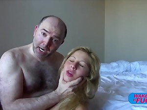 Hairy old man fucks blonde haired unfocused in both holes