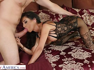 Dressed in lacy black lingerie sexpot Triptych St Clair is ready for good doggy