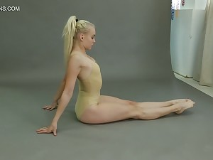 Flexible teen Dora Tornaszkova gets unmask and show ninnies in different positions