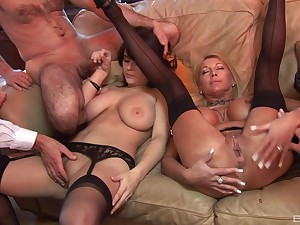 Group sex with mommy and her slutty sprog