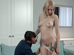Slutty Russian girlfriend Arteya gets bared to enjoy steamy missionary sex