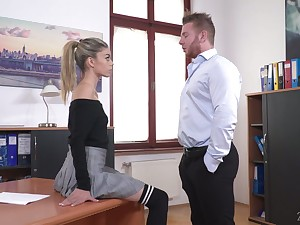 Perverted chief honcho lures his naughty and sexy secretary Ciara Riviera and fucks her anus permanent