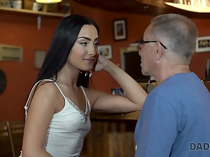 Horny age-old fart fucks a hot raven haired babe forwards pub