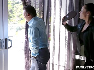 Hot MILF catches her hubby spying exceeding a neighbor's stepdaughter