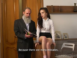 Lanuginose old crammer fucks pretty sophomore student Milana Witch