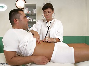 British nurse Ava Dalush gives a blowjob and gets nailed at the end of one's tether one horny patient