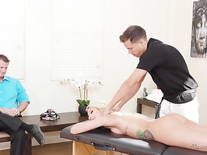 Fabulous blond milf Carmen Caliente is fucked by masseur before be advisable for husband