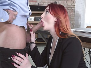 Kinky redhead Zara DuRose ends up BJ with a famous cock ride