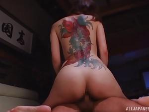 Amazing tattoo on eradicate affect beside of Kaede Fuyutsuki looks so sexy