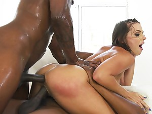 Cum eating slut Adriana Chechik fucked off out of one's mind two horny black dudes