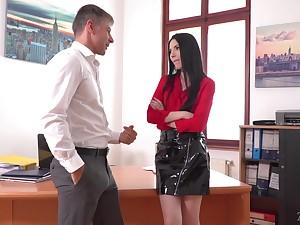 Lustful secretary Veronika masturbates pussy in the boss's designation