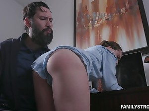 Behaving naughtily pigtailed girl Lily Blissfulness gets fucked doggy as punishment