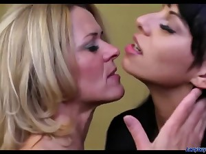 Slim Mummy and Teenie Lesbian Making Out - old and young ecumenical in excess of ecumenical sex