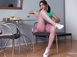 Russian babe Nastya Raspuzastya on touching miniskir playing here her snatch