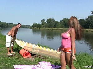 Mature lady with liberal melons fucked by chum around with annoy river and moans