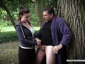 Hardcore fucking round the local woods with an older guy increased by Teressa