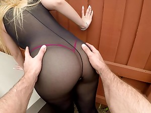 Sexy bitch in ripped body stockings Serena Skye gets say no to cunt nailed