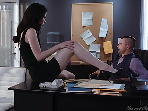 Sex-starved secretary Evelyn Claire spreads legs in front of say no to young boss