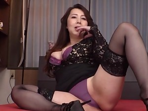 Clothed Japanese grown up is ready to strike dumb her undies