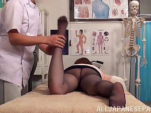 Crazy fucking on the massage table less a unaffected tits Japanese